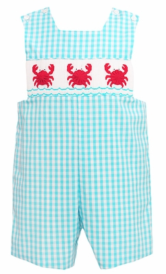 Anavini Baby / Toddler Boys Turquoise Gingham Smocked Crabs Shortall