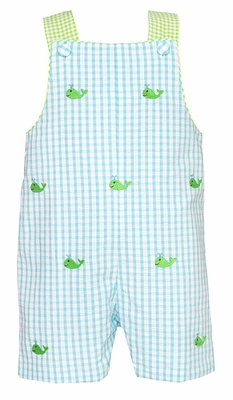 Anavini Baby / Toddler Boys Turquoise Gingham Jon Jon - Green Embroidered Whales