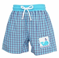 Anavini Baby / Toddler Boys Turquoise / Royal Blue Plaid Smocked Whale Swim Trunks