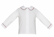 Anavini Baby / Toddler Boys White Dress Shirt - Piped in Red Holiday Plaid