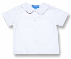 Anavini Baby / Toddler Boys White Piped Dress Shirt with Collar - Short Sleeves