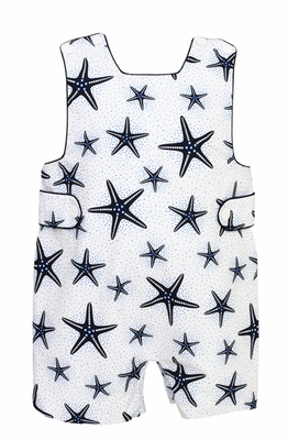 Anavini Baby / Toddler Boys White / Navy Blue Starfish Print Shortall
