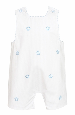 Anavini Baby / Toddler Boys White Seersucker Shortall - Embroidered Blue Seashells