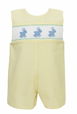 Anavini Baby / Toddler Boys Yellow Seersucker Smocked Blue Easter Bunnies Jon Jon