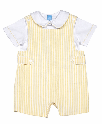 Anavini Baby / Toddler Boys Yellow Stripe Shortall with White Pique Piped Shirt