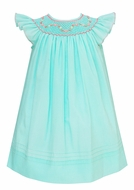 Anavini Baby / Toddler Girls Aqua Batiste Smocked Valentina Angel Wing Bishop Dress