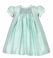 Anavini Baby / Toddler Girls Aqua Check Silk Smocked Float Dress