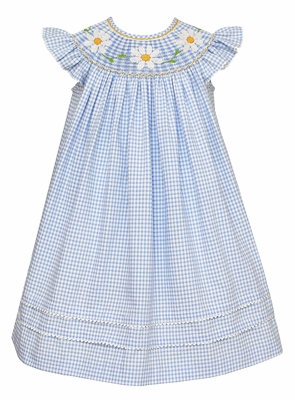 Anavini Baby / Toddler Girls Blue Check Smocked Daisy Dress