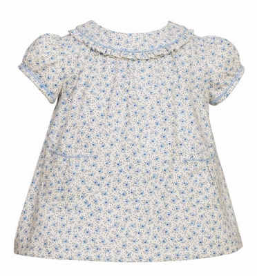 Anavini Baby / Toddler Girls Blue Floral Dress with Ruffle Collar and Pockets