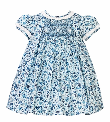 Anavini Baby / Toddler Girls Blue Floral Smocked Float Dress - Ruffle Neckline