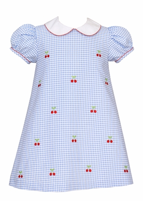 Anavini Baby / Toddler Girls Blue Gingham Seersucker Dress - Cherry Embroidery