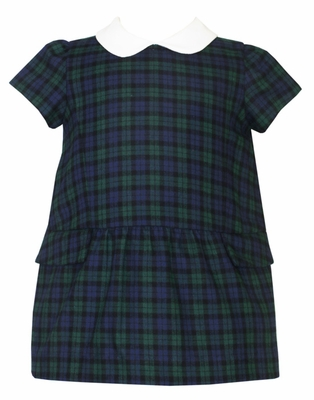 Anavini Baby / Toddler Girls Blue / Green Blackwatch Plaid A-Line Dress with White Collar