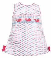 Anavini Baby / Toddler Girls Blue / Pink Dots Smocked Pink Whales Bloomers Set