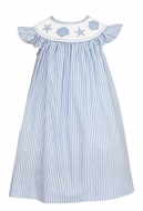Anavini Baby / Toddler Girls Blue Stripe Smocked Sea Shells Bishop Dress