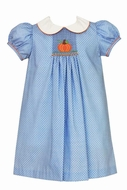 Anavini Baby / Toddler Girls Blue / White Dots Float Dress with Collar - Single Smocked Pumpkin
