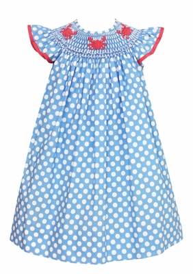 Anavini Baby / Toddler Girls Blue / White Dots Smocked Crabs Bishop Dress