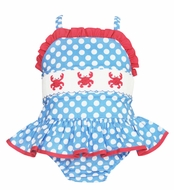 Anavini Baby / Toddler Girls Blue / White Dots Smocked Crabs Swimsuit - One Piece