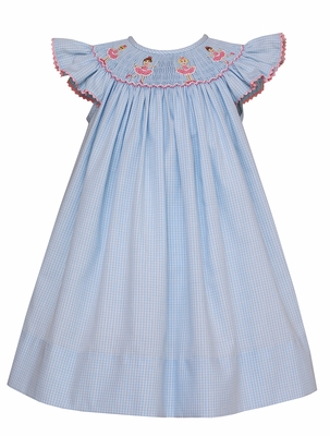 Anavini Baby / Toddler Girls Blue Windowpane Smocked Ballerinas Dress