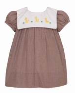 Anavini Baby / Toddler Girls  - Yellow Giraffes on Square Collar - Brown Check Dress