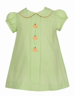 Anavini Baby / Toddler Girls Green Check Embroidered Pumpkins Float Dress
