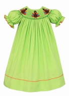 Anavini Baby / Toddler Girls Green Check Smocked Thanksgiving Turkeys Bishop Dress