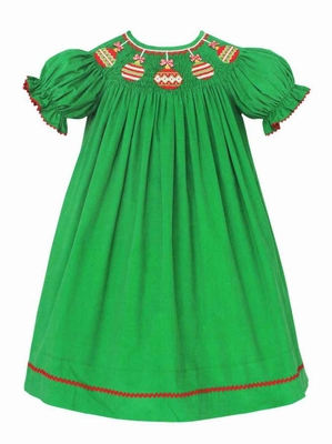 Anavini Baby / Toddler Girls Green Corduroy Smocked Christmas Ornaments Dress - Bishop