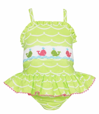 Anavini Girls Green Waves Smocked Preppy Whales Swimsuit - One Piece