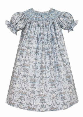 Anavini Baby / Toddler Girls Grey / Blue French Toile Smocked Bishop Dress
