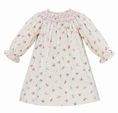 Anavini Baby / Toddler Girls Ivory Birds Print Corduroy Smocked Dress
