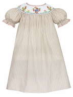 Anavini Baby / Toddler Girls Khaki Tan Stripe Smocked Easter Bunnies Garden Dress