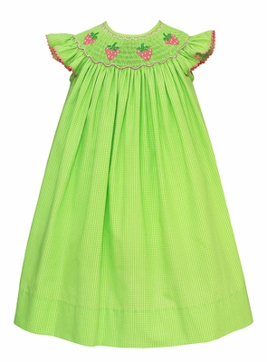 Anavini Velani Baby / Toddler Girls Lime Green Smocked Strawberries Dress