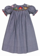 Anavini Baby / Toddler Girls Navy Blue Gingham Smocked Charlotte's Web Farm Dress