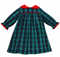 Anavini Baby / Toddler Girls Navy Blue / Green Blackwatch Plaid Dress - Red Collar