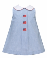 Anavini Baby / Toddler Girls Navy Blue Stripe Patriotic Flags Dress