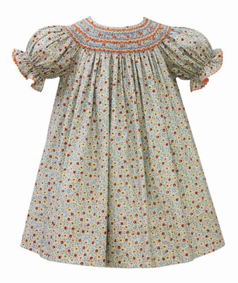 Anavini Baby / Toddler Girls Orange / Blue Liberty Floral Smocked Bishop Dress