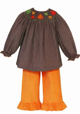 Anavini Baby / Toddler Girls Orange Corduroy Ruffle Pants with Brown Smocked Leaves Top