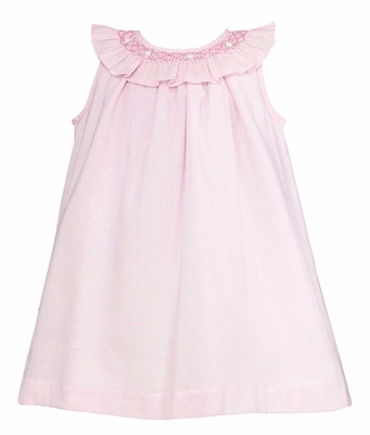 Anavini Baby / Toddler Girls Pink A-Line Dress with Smocked Collar