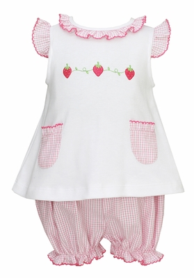 Anavini Baby / Toddler Girls Pink Check Seersucker Strawberry Embroidery Bloomers Set