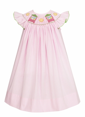 Anavini Velani Baby / Toddler Girls Pink Check Smocked Lemonade Stand Dress
