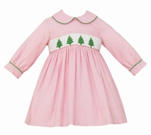 Anavini Baby / Toddler Girls Pink Corduroy Smocked Green Christmas Trees Dress - Collar & Long Sleeves