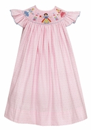 Anavini Baby / Toddler Girls Pink Dots Smocked Cinderalla / Snow White / Sleeping Beauty Princess Dress