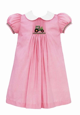 Anavini Velani Baby / Toddler Girls Pink Gingham Smocked Green Tractor Dress