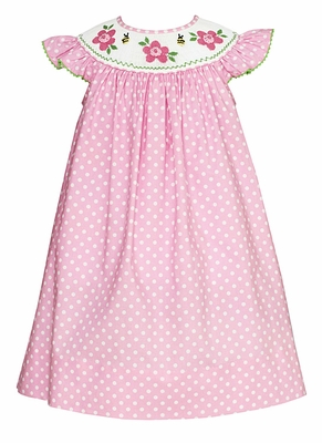 Anavini Baby / Toddler Girls Pink / White Dots Smocked Bees & Flowers Dress