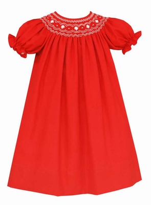Anavini Couture Baby / Toddler Girls Red Christmas Dress - Bishop Smocked in White