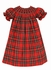 Anavini Couture Baby / Toddler Girls Red Christmas Plaid Smocked Dress - Bishop