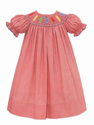 Anavini Velani Baby / Toddler Girls Red Check Smocked Crayons Back to School Dress