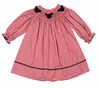 Anavini Baby / Toddler Girls Red Gingham Smocked Mouse Ears Bishop Dress - Long Sleeves