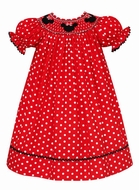 Anavini Baby / Toddler Girls Red / White Dots Smocked Mouse Ears Dress - Bishop