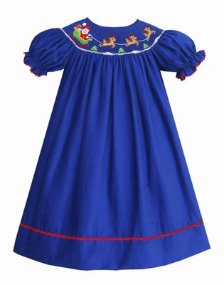 Anavini Baby / Toddler Girls Royal Blue Corduroy Smocked Santa Sleigh Dress - Bishop