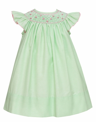 Anavini Baby / Toddler Girls Pastel Green Smocked Elizabeth Dress - Flutter Sleeves